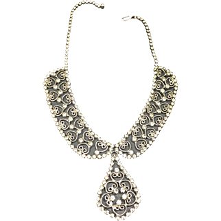 Vintage Rhinestone Filigree Necklace Collar