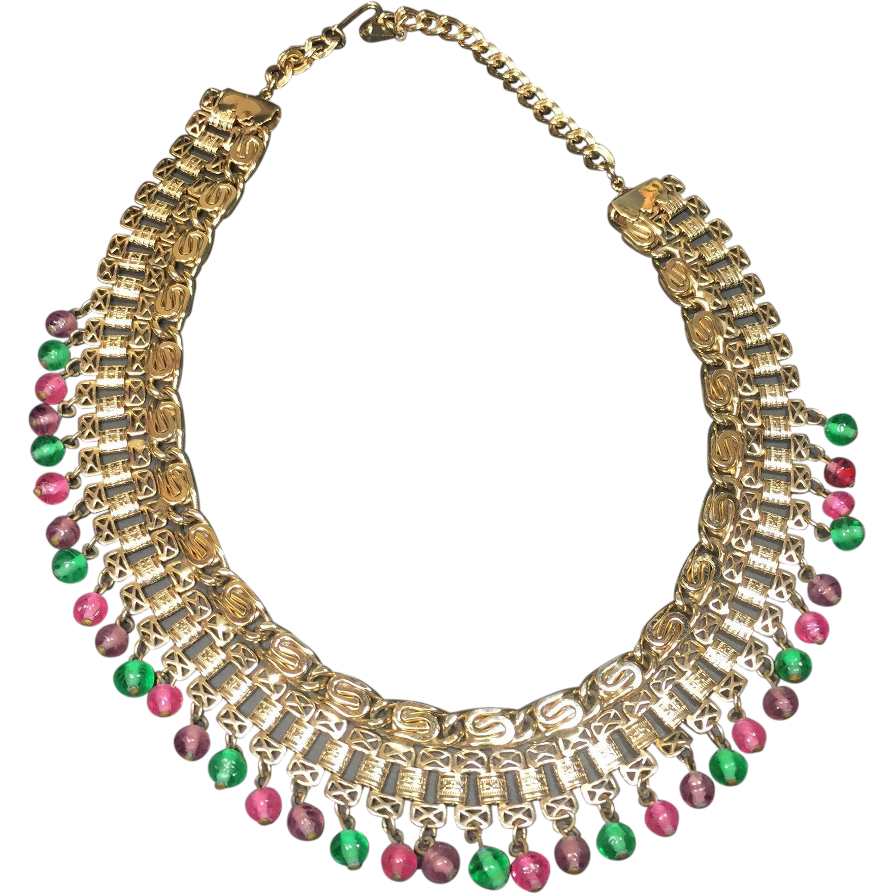 Vintage Collar Necklace Egyptian Revival Style