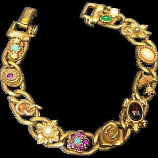 Vintage Goldette Bracelet Victorian Revival Style