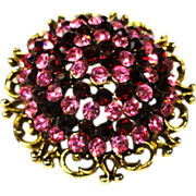Dazzling Pink & Red Domed Rhinestone Brooch