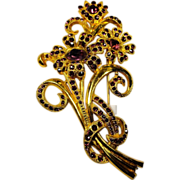 Large Floral Brooch Paved in Purple Rhinestones