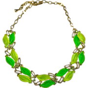 Vintage Necklace Thermoset RhinestoneGreen Apple Molded Leaves