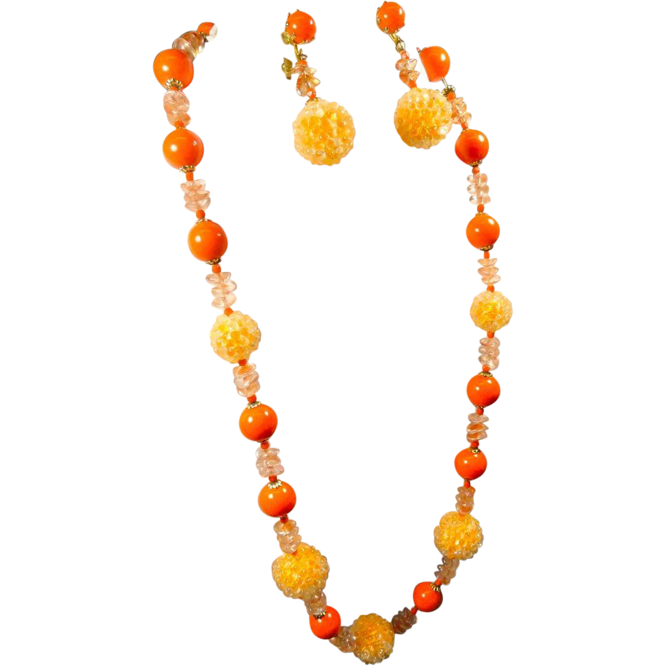 Vintage Orange Beaded Necklace & Earrings