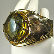 Victorian Revival Clamper Bracelet w/ Huge Art Glass Stone