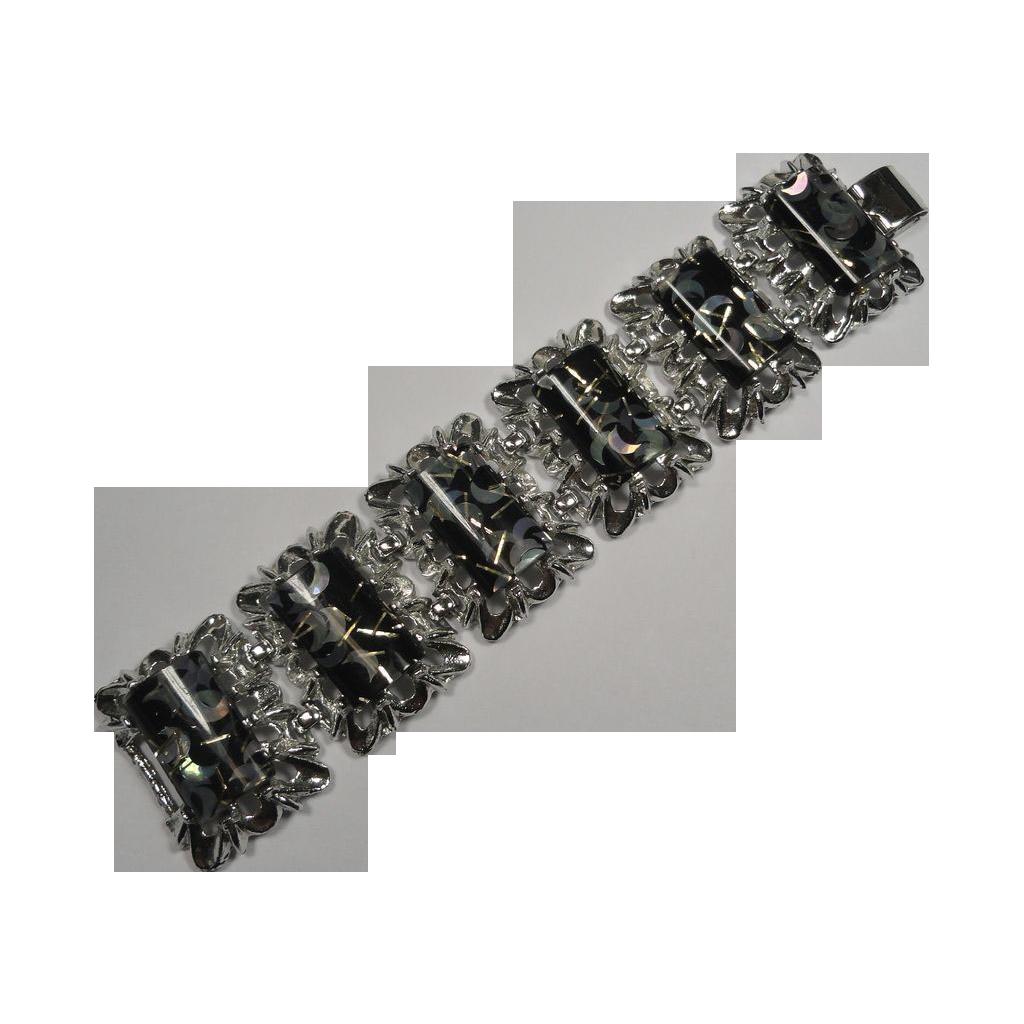 Vintage Bracelet Lucite Confetti Black Silver