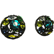 Vintage Rhinestone Earrings Japanned Green Yellow Blue