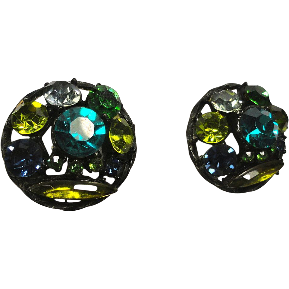 Japanned Rhinestone Earrings in Green, Yellow & Blue