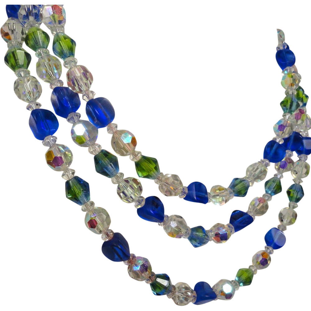 Stunning Blue & AB Green Three Strand Glass Crystal Necklace