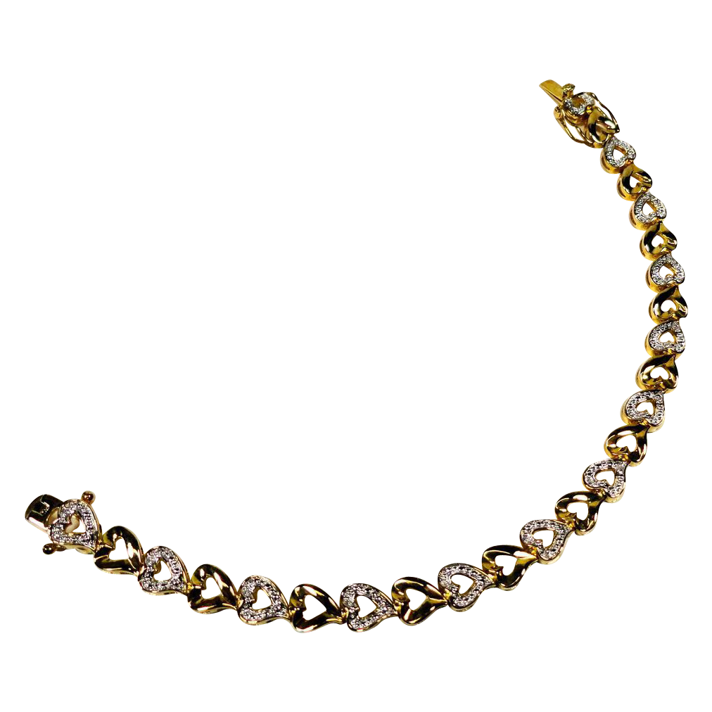 Dainty Gold Over Sterling Rhinestone Heart Tennis Bracelet