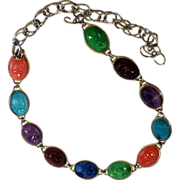 Colorful Egyptian Revival Style Molded Lucite Scarab Belt