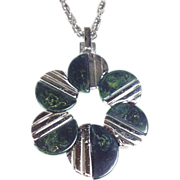 Crown Trifari Mid-Century Modern Marbled Green Bakelite & Chrome Pendant Necklace