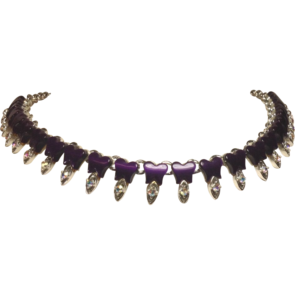 Deep Purple Butterfly Thermoset & Rhinestone Necklace