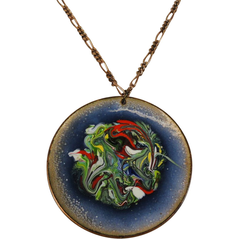Vintage Pendant Copper Enamel Mid-Century Inky Swirl