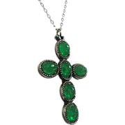 Faux Jade Green Scarab Cross Pendant by Judy Lee