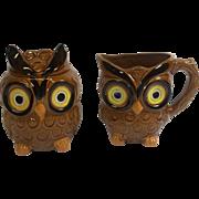 Vintage Figural Owl Creamer & Sugar