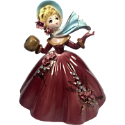 Vintage Josef Originals Girl Figurine Holding Snowflake Muff & Scarf