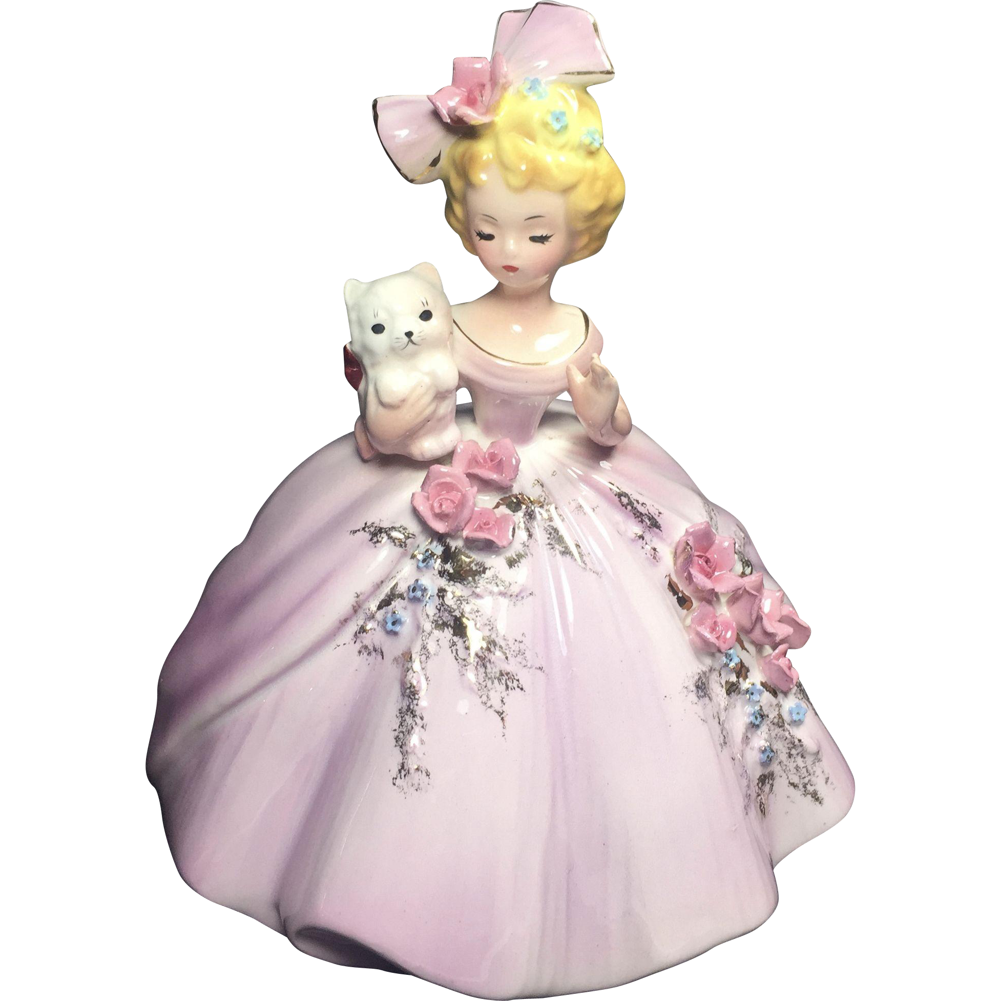 Vintage Josef Originals Girl Figurine Holding Kitten Big Bow in Hair