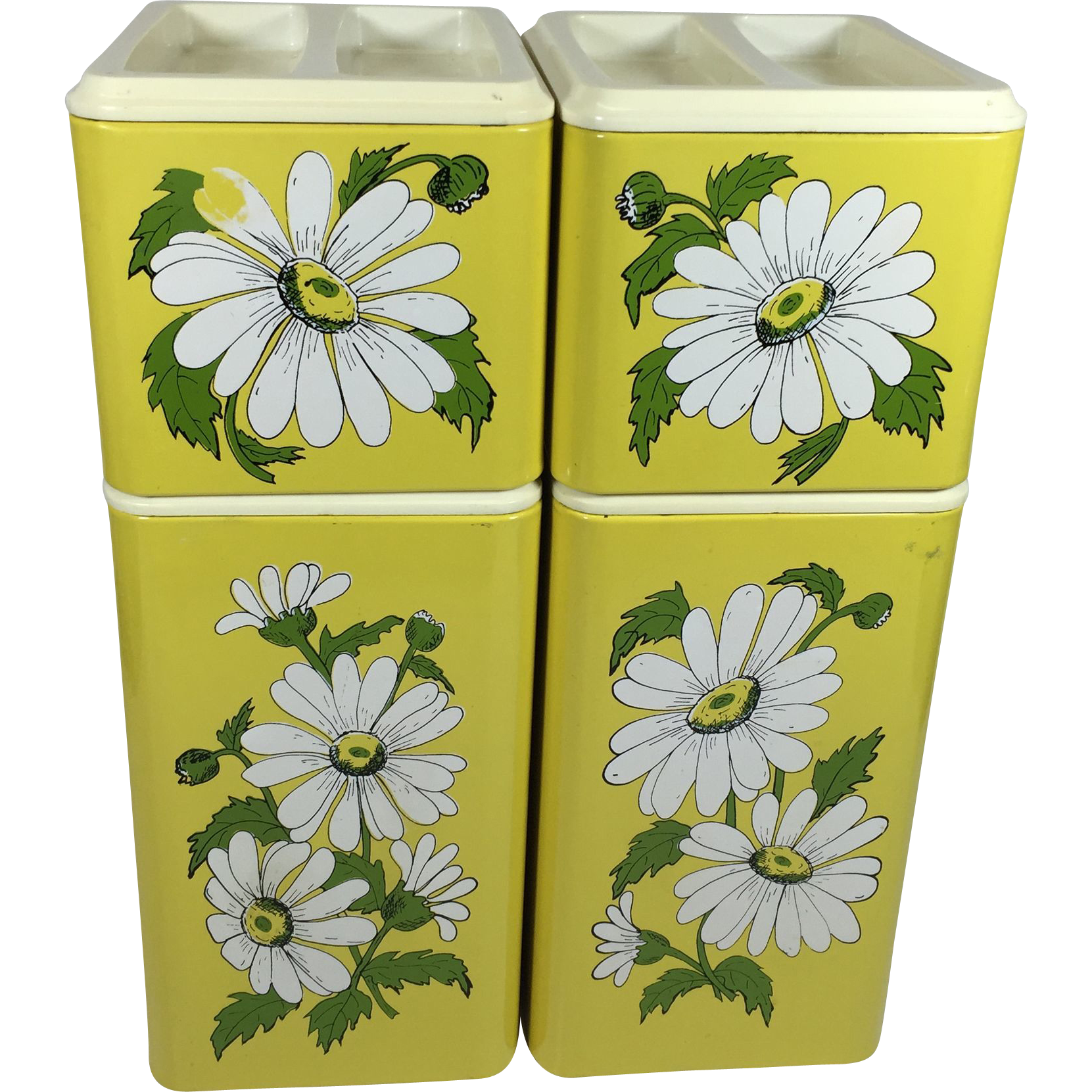 Vintage Metal Kitchen Canister Set Yellow w Daisies