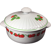 Vintage Porcelain Casserole Dish Strawberry Patch by Shafford