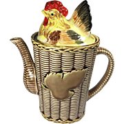 Vintage Rooster Chicken Hen on Basket Coffee Pot Rossini Japan