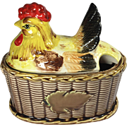 Vintage Rooster Chicken Hen on Basket Gravy Bowl Rossini Japan