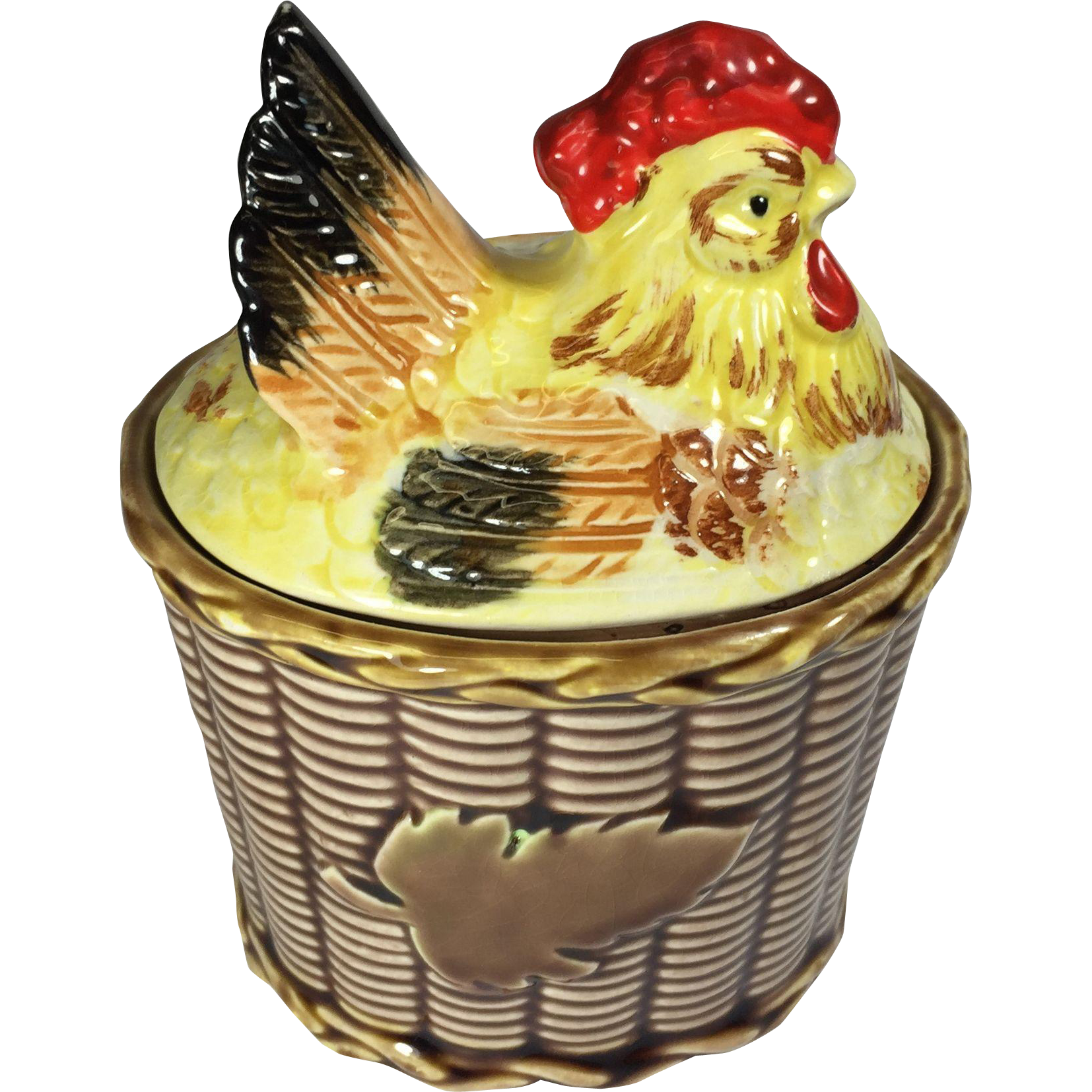 Vintage Rooster Chicken Hen on Condiment Sugar Dish Rossini Japan