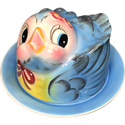 1950's Ceramic Lefton Blue Bird Butter or Cheese Dish