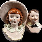 Pair Boy & Girl Head Vases w Large Hats