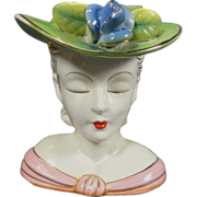 Shabby Chic Lady Head Vase in Pastel Colors