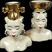 Ethnic Retro Modern Head Vase Pair