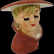 1960's Sleek Relpo Lady Head Vase w Brush Eyelashes - Red Tag Sale Item
