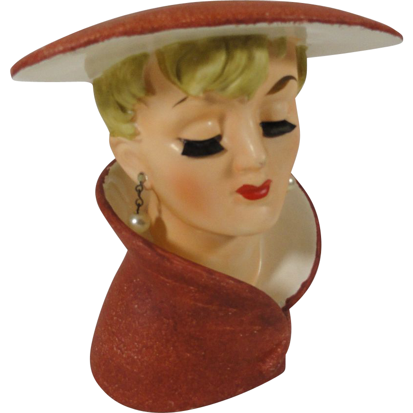 1960s Sleek Relpo Lady Head Vase W Brush Eyelashes Red Tag Sale