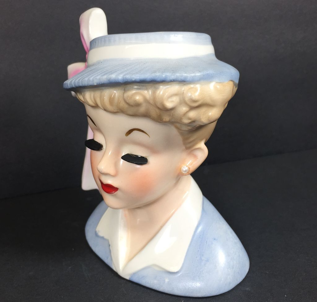 Prim Amp Proper Pastel Blue Amp Pink Napco Lady Head Vase From