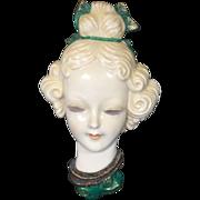 Stunning Porcelain Lady Wall Plaque w Head Vase Style Eyelashes