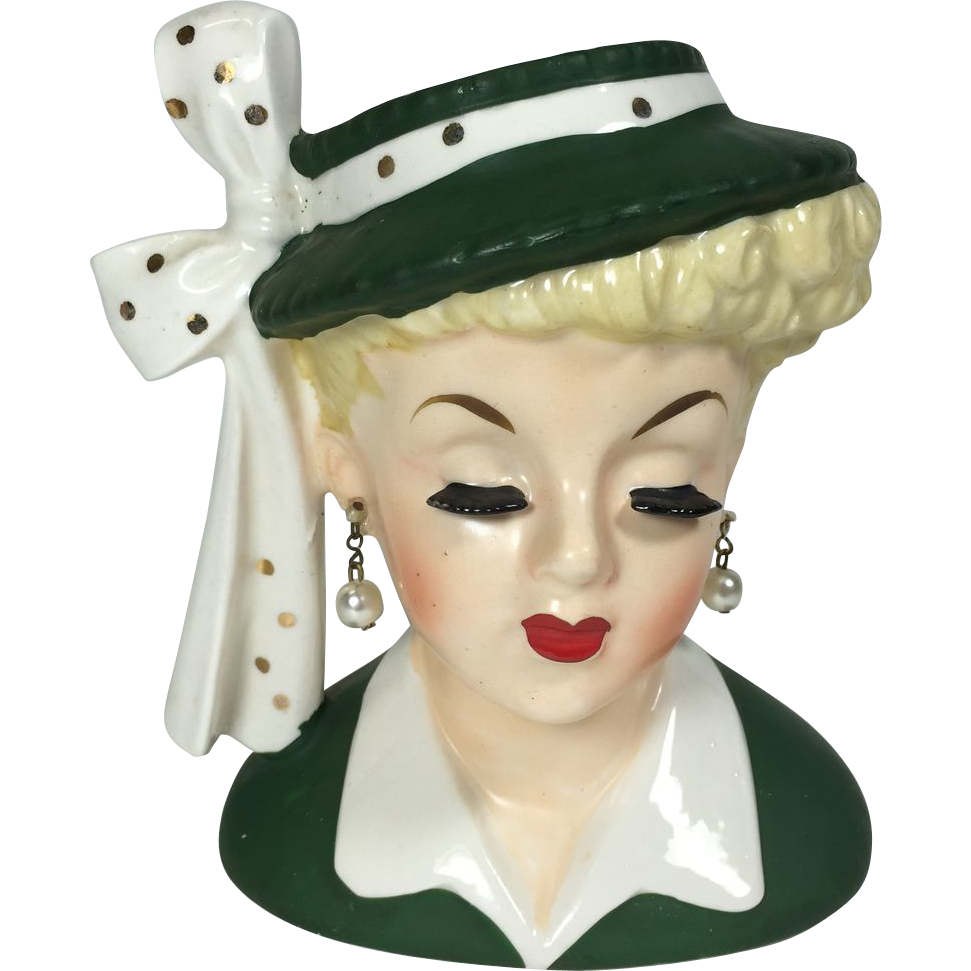 Classic Napco Lady Head Vase W Hat Bow Sold On Ruby Lane