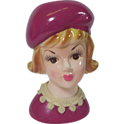 Vintage Lady Head Vase Rasberry Beret