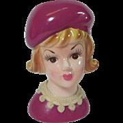 Lady Head Vase w Pastel Magenta Beret