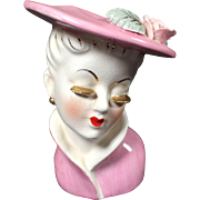 Pink Irice Lady Head Vase w Gold Lashes