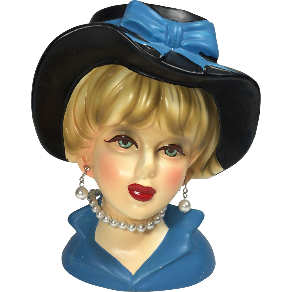 Rubens Lady Head Vase In Blue From Headsupvintage On Ruby Lane