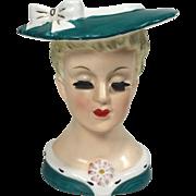 Sweet Napco Lady Head Vase w Green Suit & Hat