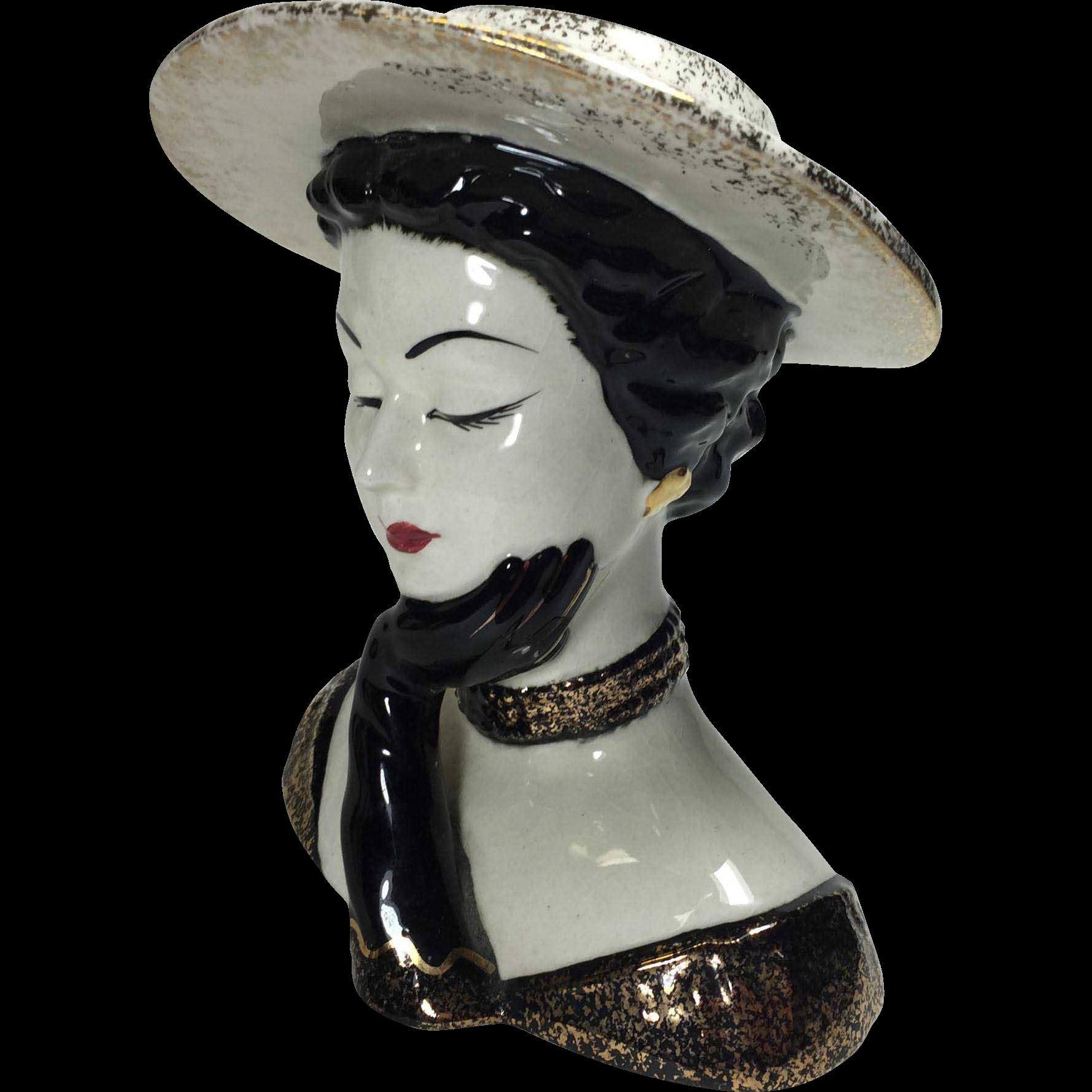 Lefton vogue art deco style lady head vase from for Deco pour vase transparent