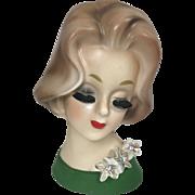 Petite Napco Lady Head Vase w Rhinestone Flower Corsage