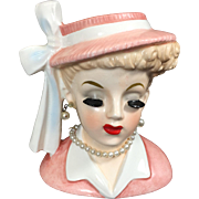 Napco Lady Head Vase w Pink Hat & Long Bow