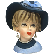 Napco Lady Head Vase w Hat & Bow in Blue