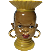 Ethnic African Tribal Lady Head Vase in Yellow