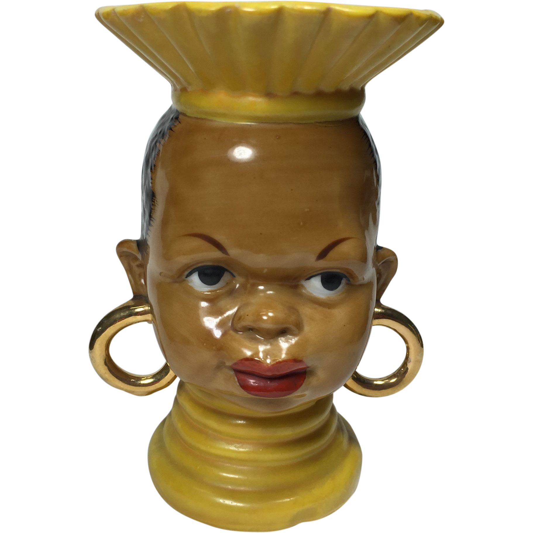 Ethnic African Tribal Lady Head Vase In Yellow From