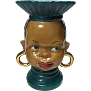 Ethnic African Tribal Lady Head Vase in Green