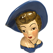 1950's Rare Open Eyes Glamour Girl Lady Head Vase in Blue