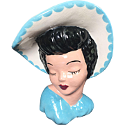 Classic Glamour Girl Lady Head Vase in Light Blue