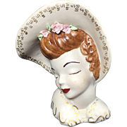 Shabby Chic Victorian Style Glamour Girl Lady Head Vase